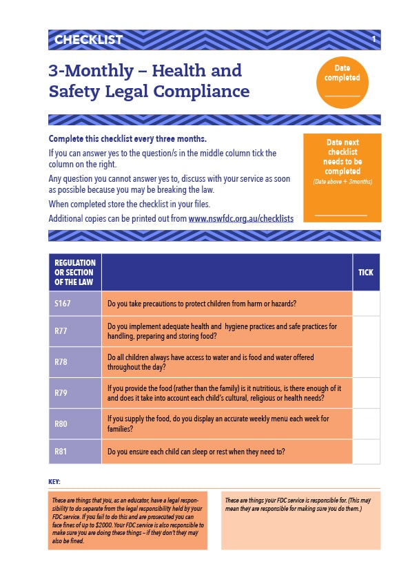 health and  Safety Legal Compliance Checklist